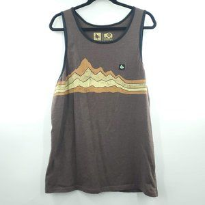 Hippy Tree Mountainscape Brown Ringer Tank Top XL